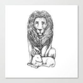 Lion Watching Over Lamb Tattoo Canvas Print