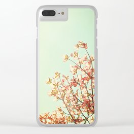 Turquoise Orange Nature Photography, Mint Teal Peach Dogwood Tree Photograph, Coral Floral Clear iPhone Case
