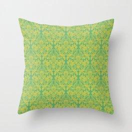 Modern Hot Teal Damask Throw Pillow