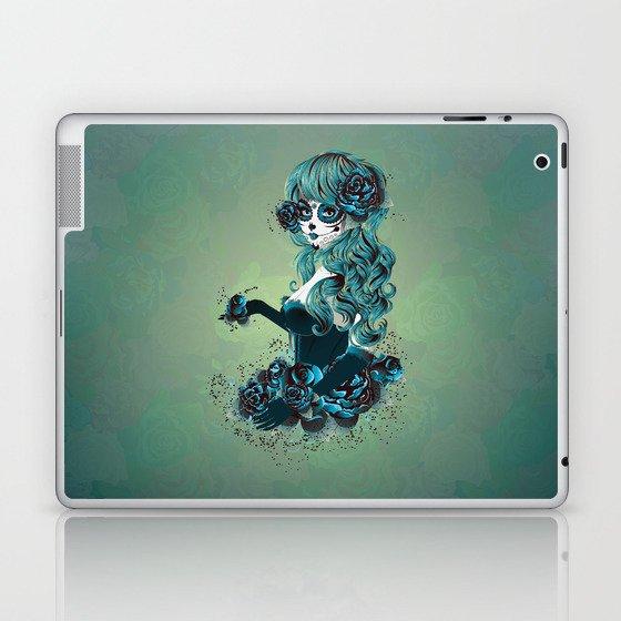 Sugar skull girl in blue Laptop & iPad Skin