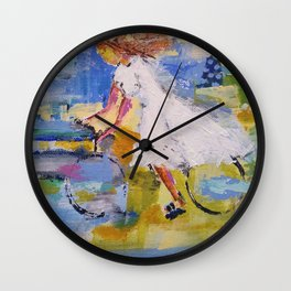 Girl and bicycle Wall Clock