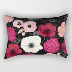 Black & Pink Flowers Midnight Rectangular Pillow