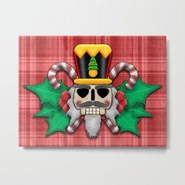 Nutcracker Skull on Red Plaid Christmas Design Metal Print