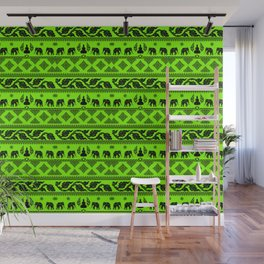 ufo green ethnic pattern Wall Mural