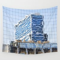 buildings Wall Tapestries featuring Twisted Buildings by davehare