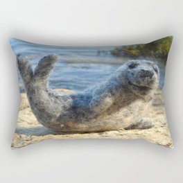 Harbor Seal on the rocky Maine coast Rectangular Pillow