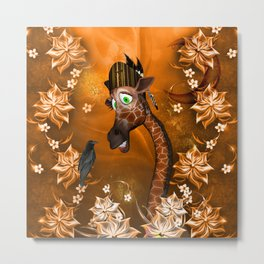 Funny giraffe with feather Metal Print