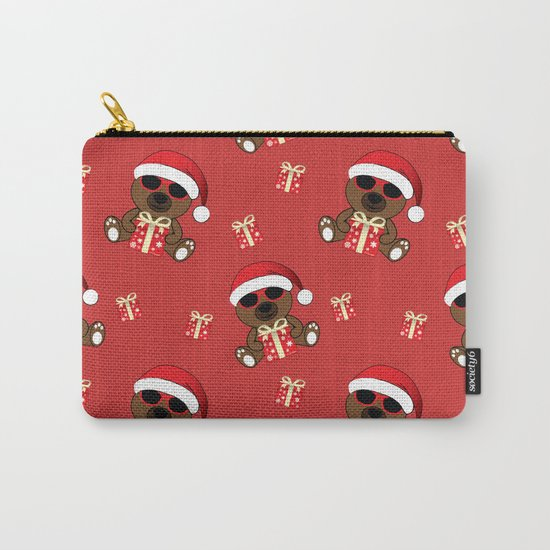 Cool Santa Bear with sunglasses and Christmas gifts pattern Carry-All Pouch