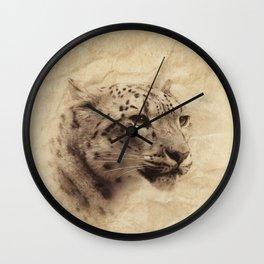 Vintage snow leopard Wall Clock