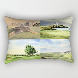 Famous Golf Courses Of Scotland - St Andrews Turnberry Carnoustie Royal Troon Rectangular Pillow