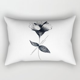 Black and White Flower, Minimalist Abstract Floral Rectangular Pillow