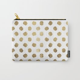 Luxurious faux gold leaf polka dots brushstrokes Carry-All Pouch