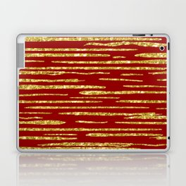 Gold and red abstract lines pattern Laptop & iPad Skin