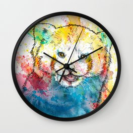 Red Panda - animal painting, illustration, colorful Wall Clock