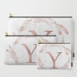 Letter Y Rose Gold Pink Initial Monogram Carry-All Pouch