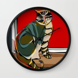 The cat and the sun Wall Clock