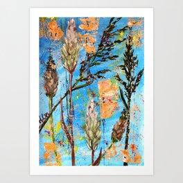 SPRING ADVENTURE - WILD GRASS SEEDS - Original abstract painting by HSIN LIN / HSIN LIN ART Art Print