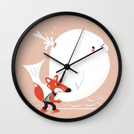 Fox and Whale Wall Clock