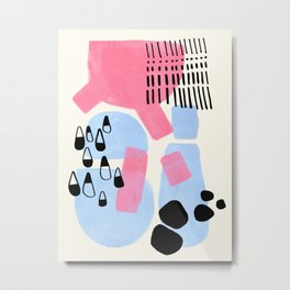 Fun Colorful Abstract Mid Century Minimalist Pink Periwinkle Cow Udder Milk Organic Shapes Metal Print