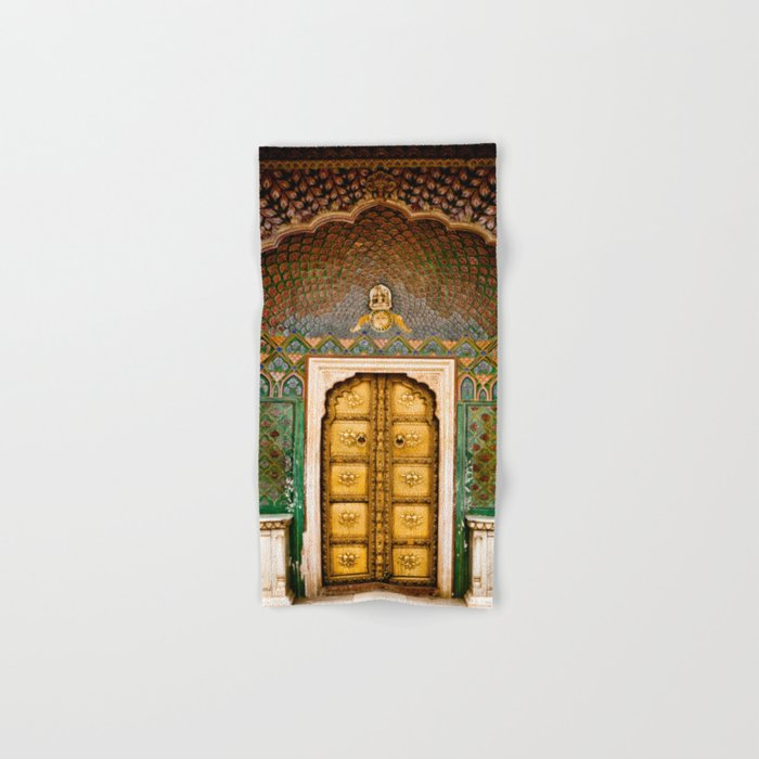 Rose gate door in pink city at City Palace of Jaipur, India Hand & Bath Towel
