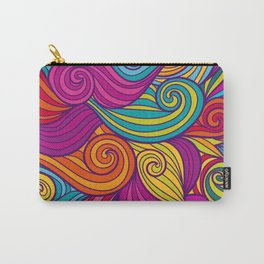 Vivid Whimsical Jewel Tone Retro Wave Print Pattern Carry-All Pouch