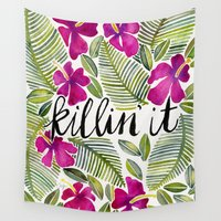 tropical Wall Tapestries featuring Killin' It – Tropical Pink by Cat Coquillette