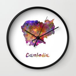 Cambodia in watercolor Wall Clock