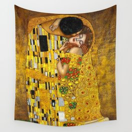 The Kiss Painting Gustav Klimt Wall Tapestry