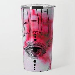 Hamsa Horus Eye Pink Red Marble Travel Mug