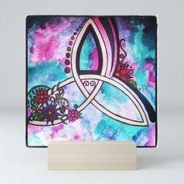 Bright Beautiful Watercolor Celtic Pagan Triquetra Mini Art Print