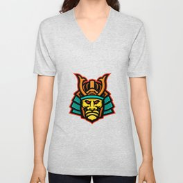 Samurai Warrior Head Mascot Unisex V-Neck
