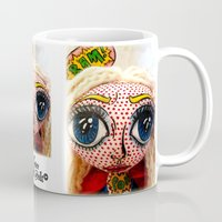supergirl Mugs featuring Supergirl by Chiara Venice Art Dolls