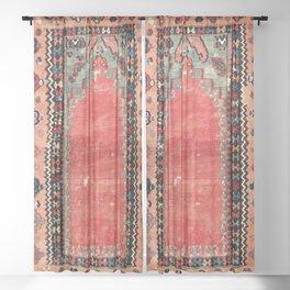 Sivas  Antique Cappadocian Turkish Niche Kilim Print Sheer Curtain