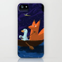Fox & Duck Looking For Dragonflies iPhone Case