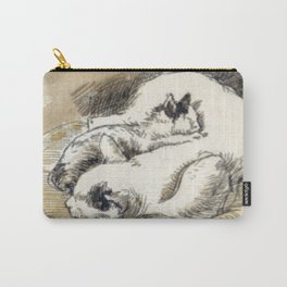 Mama Cat with Kitten in a Wicker Basket Carry-All Pouch