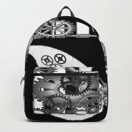 BLACK & WHITE CLOCKWORK BUTTERFLY ABSTRACT ART Backpack