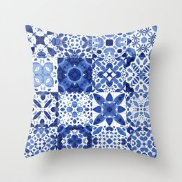 Indigo Watercolor Tiles Throw Pillow