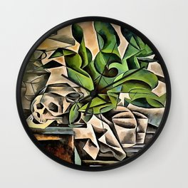 Still life with Skull After Bohumil Kubista Wall Clock