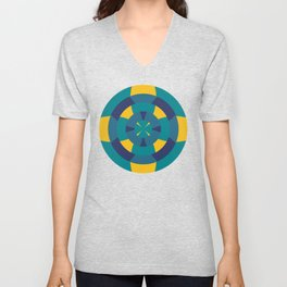 Simple geometric boat helm in blue and yellow Unisex V-Neck