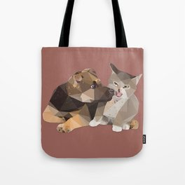 Low Poly German Shepard Puppy and Cat Tote Bag