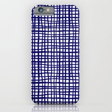 Grid indigo blue bold dramatic modern minimal abstract painting lines gridded pattern print minimal iPhone 6 Slim Case