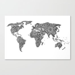 Lords Prayer Zentangle World Map  Canvas Print