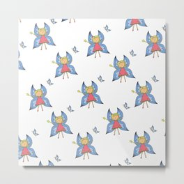 Gilly-Bean Flower Fairy Pattern Metal Print