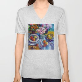 Still Life with Fruits and Flowers Unisex V-Neck