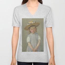 Mary Cassatt - Child in a Straw Hat Unisex V-Neck