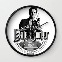 dale cooper Wall Clocks featuring Dale Cooper - Twin Peaks by KevinART