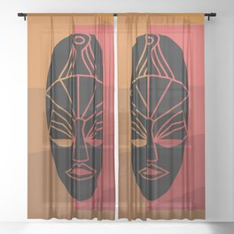 African black tribal mask design Sheer Curtain