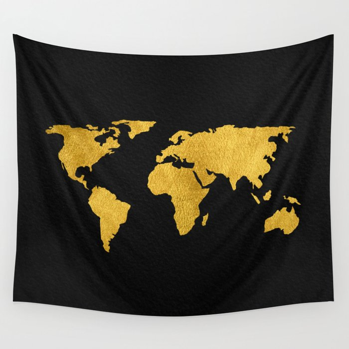 Metallic gold foil world map on black wall tapestry by mapmaker metallic gold foil world map on black wall tapestry gumiabroncs Images