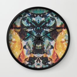 Rorschach Flowers 7 Wall Clock