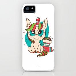 Christmas Unicorn Fun Girls Kids Snowflake Holiday Xmas Gift T-Shirt iPhone Case